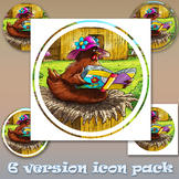 Clipart 6pack - High Resolution - Henrietta the hen reading