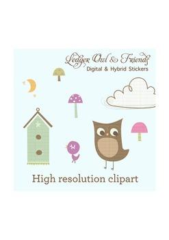 High resolution ledger bird and owl clipart