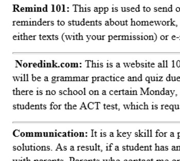 High school Language Arts Disclosure Statement