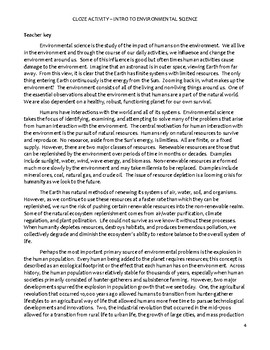 High school environmental science Cloze worksheet - Intro to Env. Science