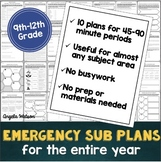 High school sub plans: EVERYTHING you need for 10 days of absences