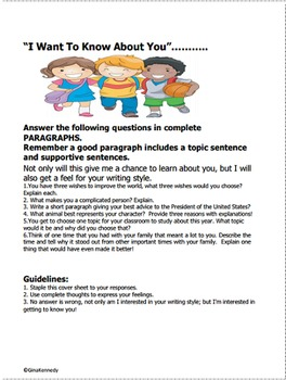 Back To School Writing Project to Assess Writing Skills for Upper Elementary