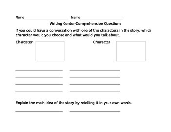 Higher Level Comprehension Questions
