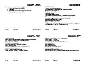 Higher-Level, Discussion, and Technology Teaching Strategy Cards