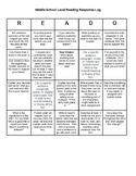 Higher Level Middle School Reading Response Bingo Board