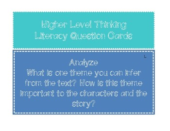 Higher Level Questioning Cards
