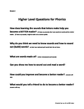 Higher Level Questions for Phonics