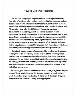 Higher-Level Questions for Reading A-Z Books K-M