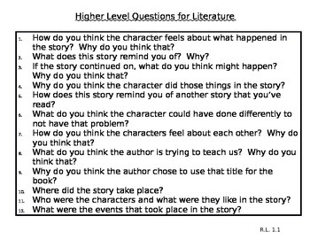Higher Level Questions in Literature