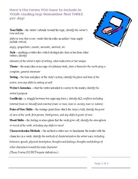 Higher Level Reading Log using Literary Terms