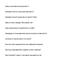 Higher Level Thinking Questions for Art Class