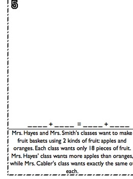 Higher Level Word Problems - Common Core Elements