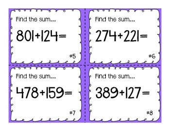 Higher Order Addition and Subtraction Task Cards
