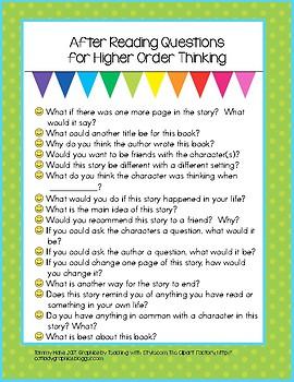 Higher Order Comprehension Teacher Cheat Sheet
