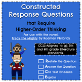 Higher-Order Constructed Response Questions for use w/ Freak the Mighty (CCSS)