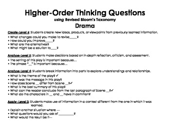 Higher-Order Drama Questions