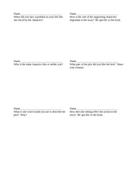 Higher-Order Literature Question Cards