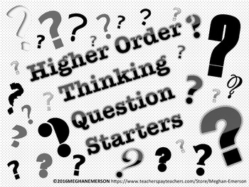 Higher Order Thinking Question Starter Flash Cards