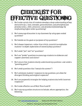 Higher Order Thinking Checklist