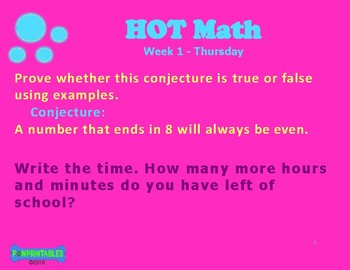 Higher Order Thinking Daily Math Warm-up - 4th Grade
