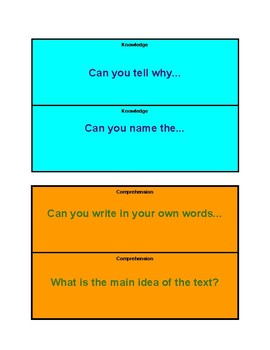 Higher Order Thinking Lap Cards