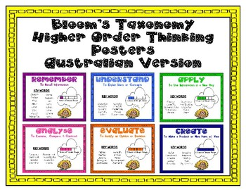 Higher Order Thinking Posters base on Bloom's Taxonomy- AUSTRALIAN VERSION