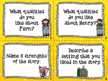 Higher Order Thinking Skills Task Cards {Charlotte's Web}