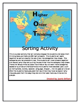 Higher Order Thinking Sorting Countries Activity