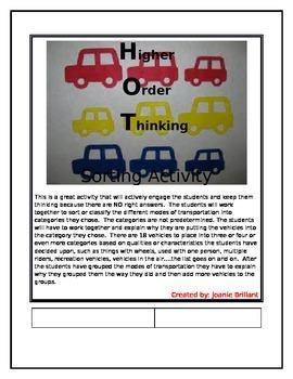 Higher Order Thinking Sorting Transportation