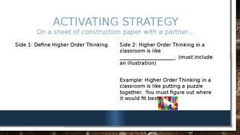 Higher Order Thinking Strategies Presentation