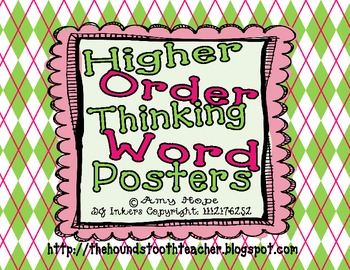 Higher Order Thinking Word Posters