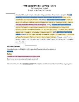 Higher Order Thinking Writing Rubric