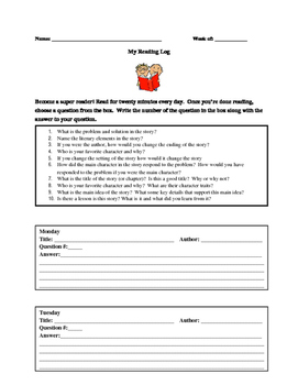 Higher Order Thinking questions with Reading Log