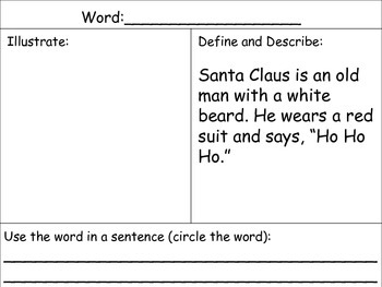 Vocabulary Higher Order Graphic Organizers: Christmas