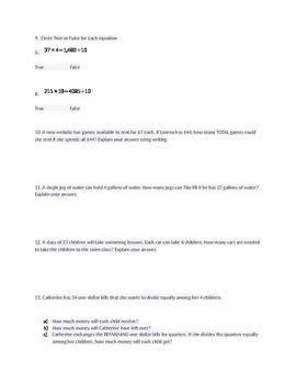 20 Higher Thinking Division Word Problems w/ answer key 5.NBT.6 5.NBT.B.6