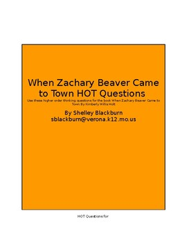 Higher order thinking questions for When Zachary Beaver Came to Town