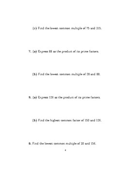 Highest common factor, lowest common multiple and product of primes worksheet