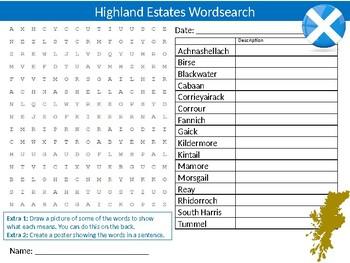 Highland Estates Wordsearch Sheet Cartoon Starter Activity Keywords Scotland