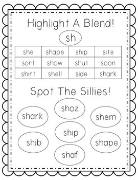 Highlight A Blend! Double consonant blends + digraphs!