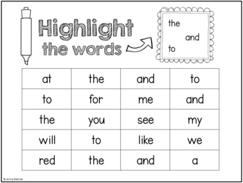 Sight Words Highlighting Pack