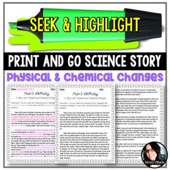 Seek & Highlight: Physical and Chemical Changes Science Matter and Its Changes