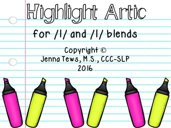 Highlight Artic for /l/ and /l/ blends