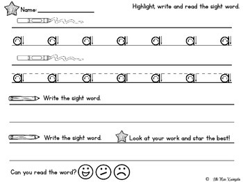 Highlight Read and Write DOLCH PrePrimer Sight Words!