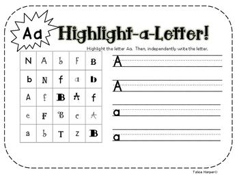 Highlight a Letter Complete Alphabet Bundle!! by Talice Harper | TpT