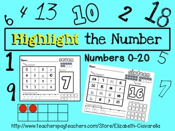 Highlight a Number - Find, Highlight, Color, and Write Numbers 1-20