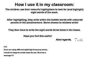 Highlight a Sight Word