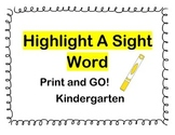 Highlight a Sight Word Kindergarten