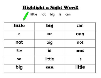 Highlight a Sight Word- Sample