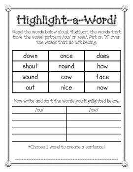 Highlight-a-Word /ow/ and /ou/