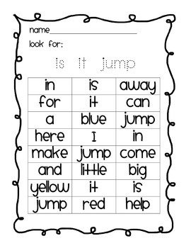 Highlight a sight word: pre primer Dolch list sight word work